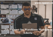 Job Vacancy for Warehouse Manager in Liberia