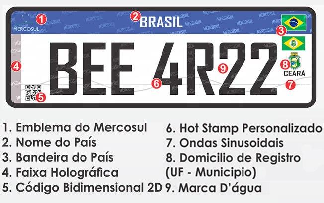 Placas de veículos do Brasil vão usar padrão do Mercosul neste ano