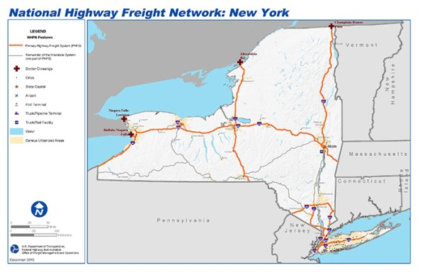 National Highway Freight Network Map and Tables for New