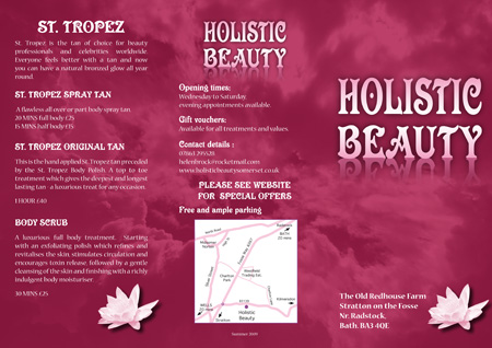 Optical Design & Print Holistic Beauty Leaflet