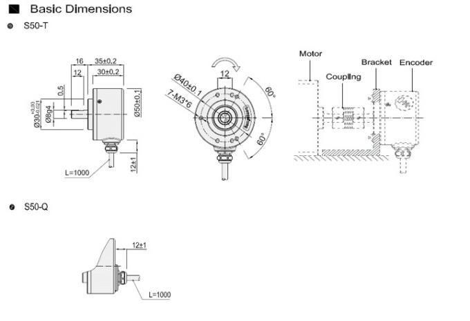 1024 Ppr 8mm Solid Shaft Encoder DC5V-30V S50 Ttl Circuit