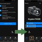 Mobilna aplikacija Pulsar Stream Vision 2 - Napotki za vzpostavitev povezave med napravo in aplikacijo (vir slike: Pulsar)
