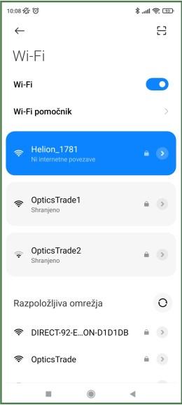 Pulsar Stream Vision 2 - Povezava naprave Pulsar preko Wi-Fi nastavitev telefona (vir slike: Optik Info)