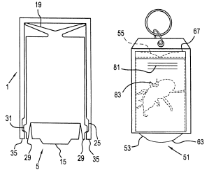 US 6357153 B1 – Movable display multiple image tag and key chain