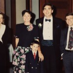 The Optikos 10th Anniversary party. From left to right, Phill and Ellen Dunn, Betsy, Dennis, and Steve Fantone, Tom and Cyndy Bates- 1992