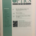 Inside front cover of Optics News, 1989