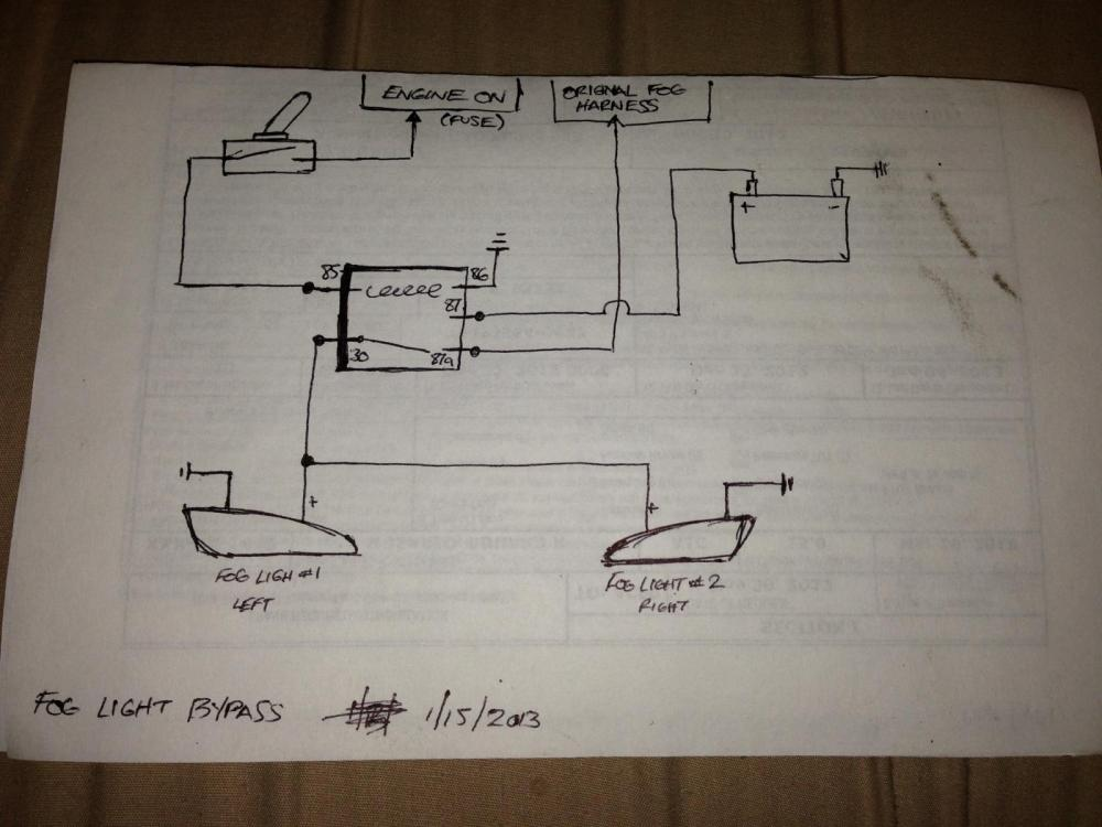 medium resolution of simple wiring diagram to bypass foglights works w o headlights or w fog light wiring harness fog light wiring diagram simple
