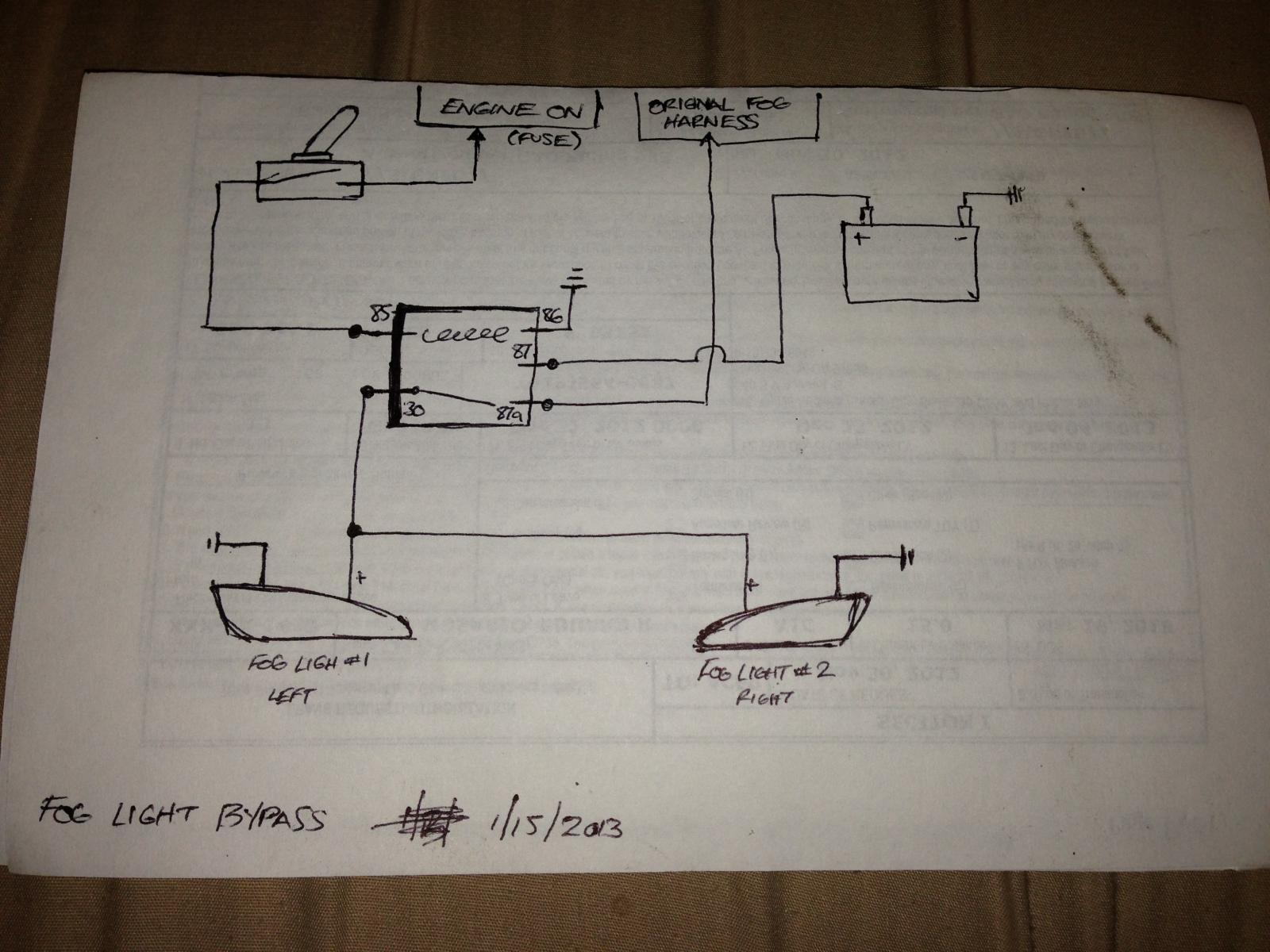 hight resolution of simple wiring diagram to bypass foglights works w o headlights or w fog light wiring harness fog light wiring diagram simple