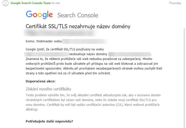 Certifikát SSL-TLS nezahrnuje název domény