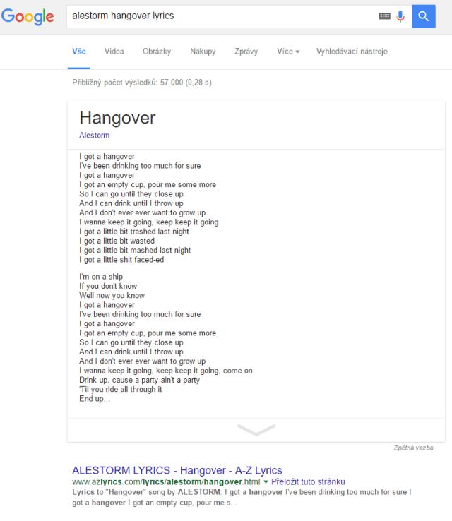 Textní písní v Google