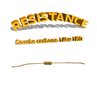 Résistance 1 kohm à couche Carbone 1/4W