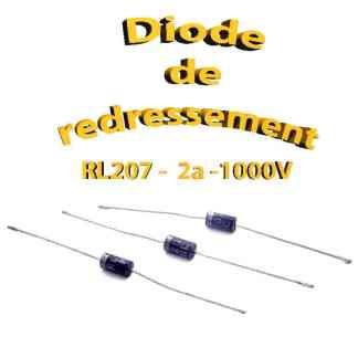 RL207 - Diode de redressement 1000v, 2a, DO-15