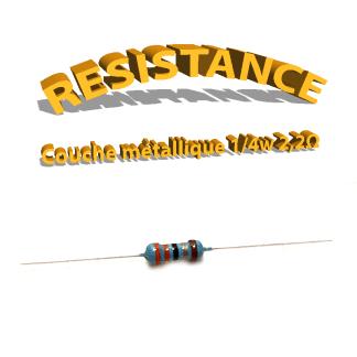 Résistance 2,2 ohm métallique 1/4W 1%