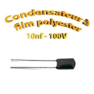 Condensateur à film polyester 10nf - 100Volt - Code:103