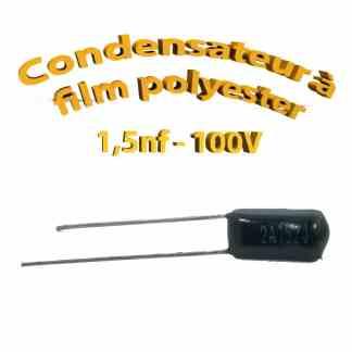Condensateur à film polyester 1,5nf - 100Volt - Code:152