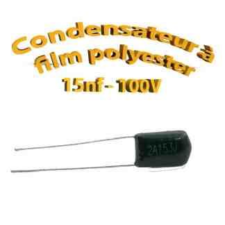 Condensateur à film polyester 15nf - 100Volt - Code:153