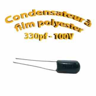 Condensateur à film polyester 330pf - 100Volt - Code:331