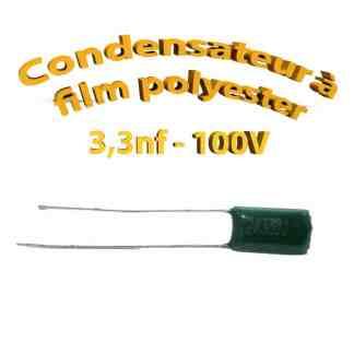 Condensateur à film polyester 3,3nf - 100Volt - Code:332