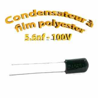 Condensateur à film polyester 5,6nf - 100Volt - Code:562
