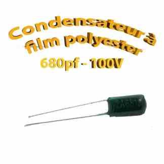 Condensateur à film polyester 680pf - 100Volt - Code:681