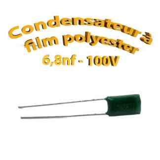 Condensateur à film polyester 6,8nf - 100Volt - Code:682
