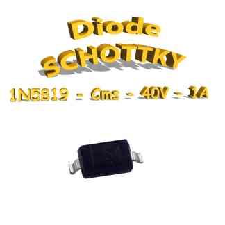 1N5819 - Diode traversante S4, 1A, 40V, 1N5819 - CMS