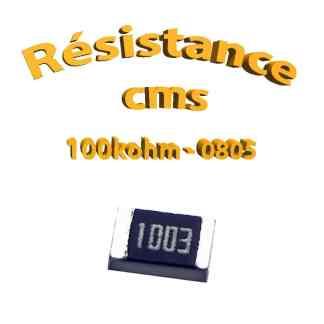 Résistance cms 0805 100kohm 1% 1/8w