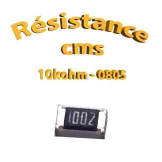 Résistance cms 0805 10kohm 1% 1/8w