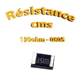 Résistance cms 0805 150ohm 1% 1/8w