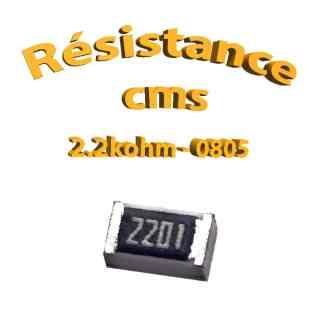 Résistance cms 0805 2,2kohm 1% 1/8w
