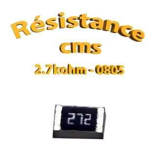 Résistance cms 0805 2,7kohm 1% 1/8w