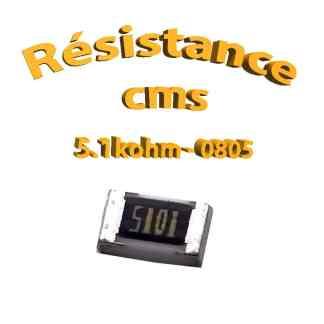 Résistance cms 0805 5.1kohm 1% 1/8w