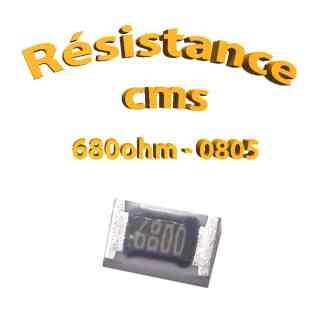 Résistance cms 0805 680ohm 1% 1/8w