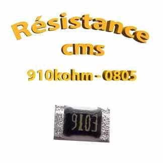 Résistance cms 0805 910kohm 1% 1/8w