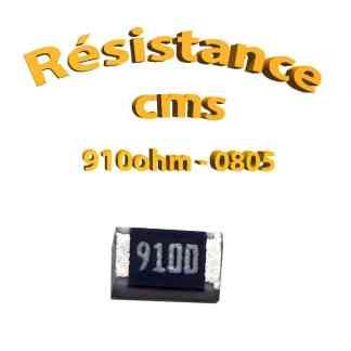 Résistance cms 0805 910ohm 1% 1/8w