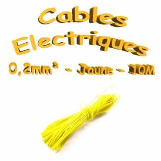 Câble électrique 0.2mm² jaune10 mètres(30awg)