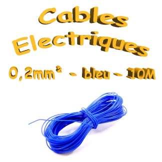 Câble électrique - 0.2mm² - Bleu - 10 mètres(30awg)