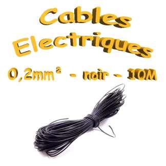 Câble électrique - 0.2mm² - Noir - 10 mètres(30awg)
