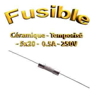 Fusible Temporisé 0,5A 250v -T0.5AL250V - à souder -5x20mm