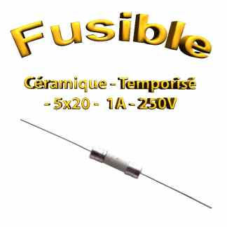 Fusible Temporisé 1A 250v -T1Al250V - à souder -5x20mm