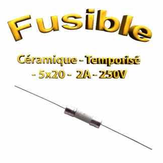 Fusible Temporisé 2A 250v -T2AL250V - à souder -5x20mm