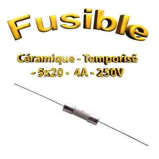 Fusible Temporisé 4A 250v -T4AL250V - à souder -5x20mm