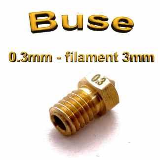 Buse E3D 0.3mm 3mm - laiton - M6 - (compatible)