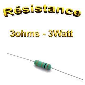 Résistance 3 ohms Carbone 3W 5% - THT - 5.5 x 16mm
