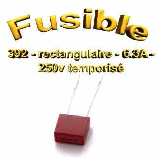 Fusible Temporisé rectangulaire 392 - 6.3A 250v - à souder - 8.5 x 8 x 4mm