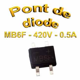 MB6F - Pont de diodes 0,5A - 600V - 420v rms - CMS/SMD