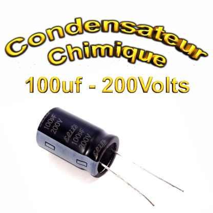 Condensateur électrolytique polarisé 100uF 200V- 16x25mm - 20%