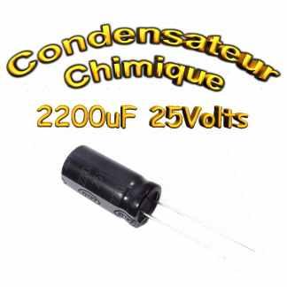 Condensateur électrolytique polarisé 2200uF 25V- 12x25mm - 20%
