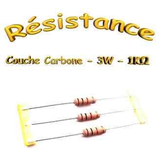 Résistance 1 Kohms Carbone 3W 5% - THT - 5x 15mm