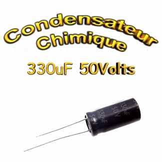 Condensateur électrolytique polarisé 330uF 50V- 10x20mm - 20%